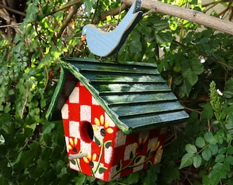 Sorbet Bird Abode - Painted Handmade Wooden Bird House