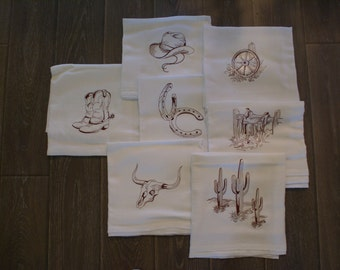 Western Dish Towels (Set of 7) - Made to Order
