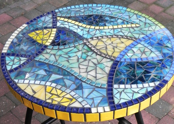 Stained Glass Mosaic Coffee Table Side Table Plant Stand