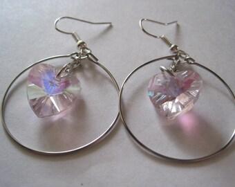 Light Pink Glass Heart Bead Dangle/Hoop Earring