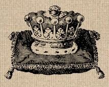 INSTANT DOWNLOAD Printable Crown Image Antique Crown Illustration Crown Printable Crown Graphics Crown Clipart 300dpi HQ
