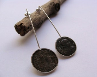 Earrings handcrafted in Ag.925mls. with Centenionalis of emperors CONSTANTIVS II and DELMATIVS.