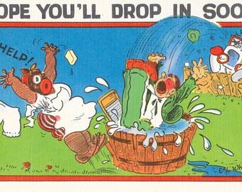 Artist E.L. White Postcard Comical Black Americana 1940s