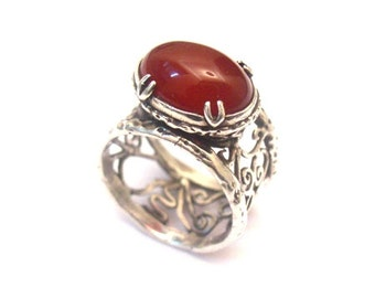 Sterling Silver 925 Ring with Carnelian