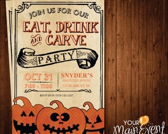 Pumpkin Carving Party Invitation / Halloween Party Invites / Halloween Invitation / Halloween Bash