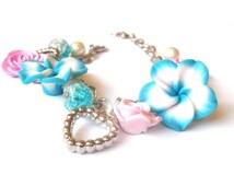 Blue Floral Bracelet ( pink rose bracelet cute gift for girl cute bracelet rose bracelet turquoise bracelet pink bracelet polymer clay )