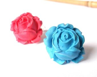 Rose Ring Best Friend Rings ( blue rose ring red rose ring rose rings adjustable ring rose jewelry flower ring floral jewelry polymer clay )