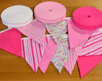 Mixed Pink double sided fabric bunting, 10, 15 or 20 flags.