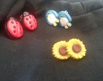 Fun button earrings for your mini me