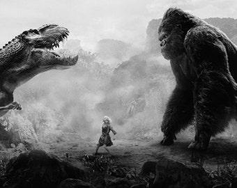 King Kong VS Tyrannosaurus Rex 35'' Silk Poster