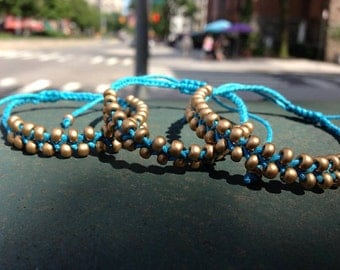Braided Gold Bead Adjustable Bracelet