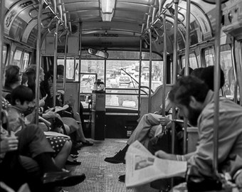 Vintage Black and White Photography Fine Art Print, Morning On The City Bus