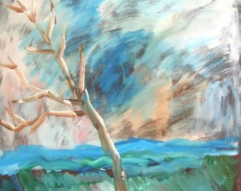 European art oil painting landscape expressionism tree signed