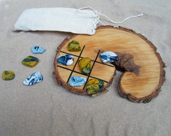 Unique Wood Tic Tac Toe Board With Hand Painted Baltic Sea