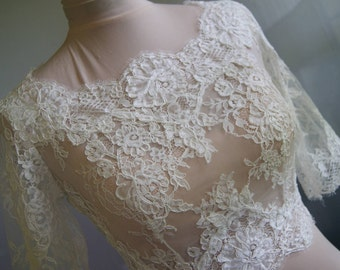 Wedding bolero, jacket of lace,alencon, sleeves, . Unique, Exclusive Romantic bridal bolero JOANNA