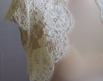 Wedding bolero, top, jacket of lace,alencon, short sleeves, ivory . Unique, Exclusive Romantic bolero SOPHIE