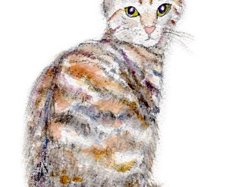 Stripy Cat, Giclee Print of Watercolor