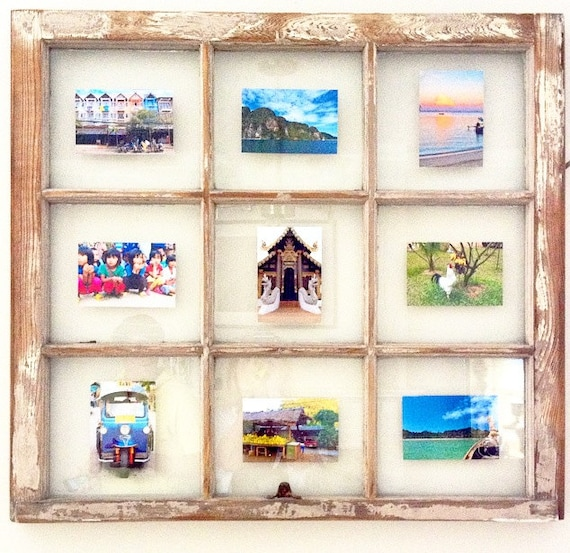 Items similar to recycled window customized picture frame for Recycled window frames