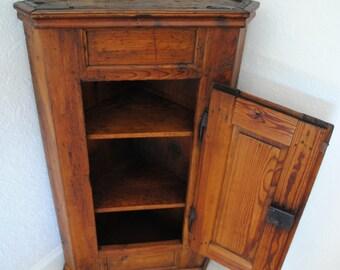 Antique Austrian Corner Cabinet Cupboard Solid Oak Wood  Triangle Shape
