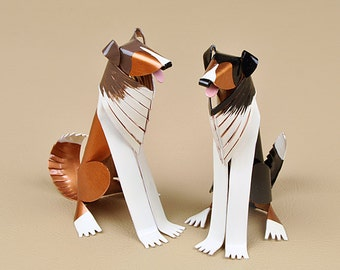 "Shetland Sheepdog Sculpture 3"" tall Handmade Copper Miniature Collectible Art"