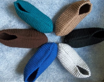 Soft and Warm Snug Fitting Men's Knitted House Slippers, Hand Knitted Slippers, Men's Gift, House Guest and Hostess Gift, Men's House Shoes