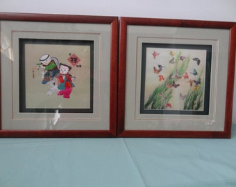 Pair of Chinese Cross stitch in Silk Symbolized Good Luck New Couple with lovely Butterflies in Glass Frames