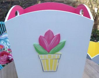 Flowerpot Toy Bin - Hot Pink, Toy Bin, Toy Box, Toy Storage, Childrens Toy Box, Girls Toy Box, Childrens Furniture, Bright Toy Box, Storage