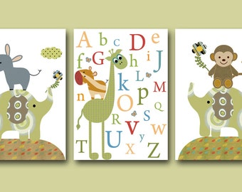 Elephant Nursery Giraffe Nursery Alphabet Nursery Digital files Children Art Baby Boy Nursery Print set of 3  8x10 11X14 INSTANT DOWNLOAD