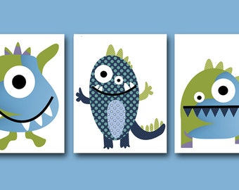 Monster Nursery Digital files Children Art Baby Boy Nursery Print Kid Art Kids Wall Art set of 3 8x10 11X14 INSTANT DOWNLOAD Blue Green Navy