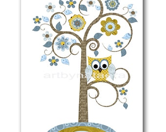 Tree Nursery Art Download Art Printable Nursery Print Baby Boy Nursery Decor Baby Art Digital Print Digital Art 8x10 11X14 INSTANT DOWNLOAD