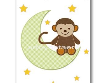 Monkey Nursery Download Baby Boy Nursery Art Digital Wall Art Printable Digital Print Download Art 8x10 11X14 INSTANT DOWNLOAD green