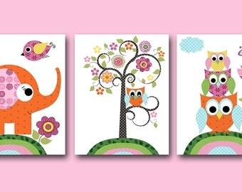 Owl Nursery Digital Print Baby Girl Nursery Art Elephant Nursery Children Art Digital Download set of 3 8x10 11X14 INSTANT DOWNLOAD Wall Art