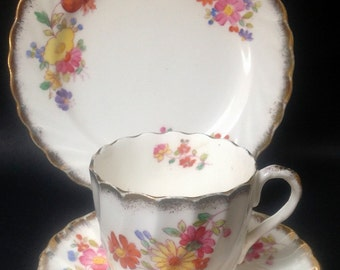 English Vintage China Teaset Teacup  Saucer Trio Flowers Tea Parties High Tea