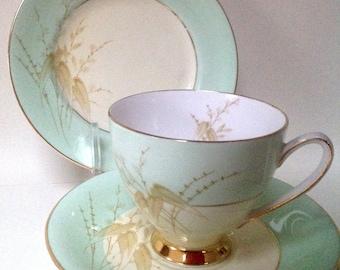 Royal Stafford Giselle British Vintage Bone China Teacup Trio  Saucer Tea plate 1950's