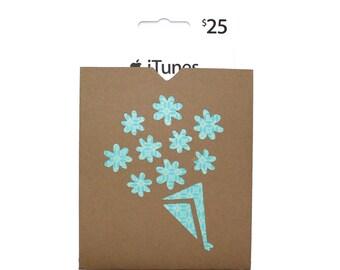 Gift Card Holder - Blue Flower Design - Kraft Envelope