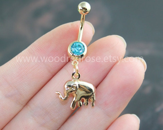 14K Gold Elephant Belly Button RingsCute elephant Navel