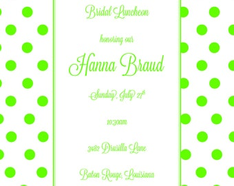 Bridal shower invitation green poka dot