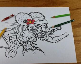 rat fink girl tattoo flash coloring book page. Black Bedroom Furniture Sets. Home Design Ideas