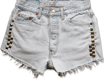 Vintage 90s Levi's Light Blue Wash Studded High Waisted Rise Cut Offs Frayed Distressed Jean Denim Shorts – Size 27