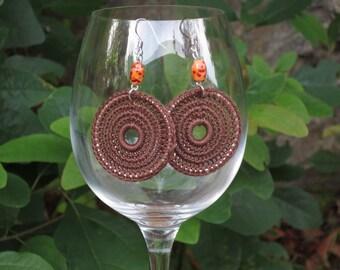 Chocolate Brown Crochet Earrings