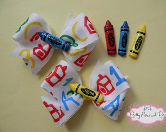 Crayon Bows, School Hair Bow