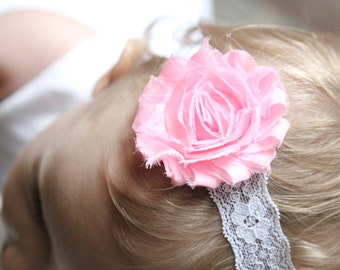 Candy pink shabby chic flower headband with white lace