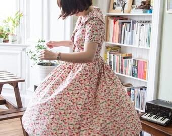 Gorgeous Handmade Rose Floral Full Circle Short Sleeved Dress - UK 10