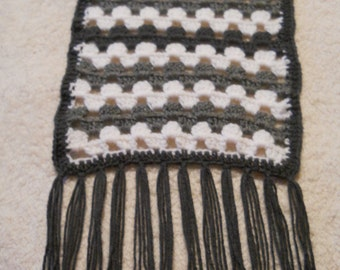 Extra Long Gray and White Crochet Granny Stitch Scarf with Tassels