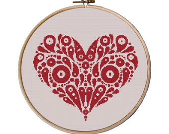 Heart, Cross Stitch Pattern, Instant Download, funny cross stitch, easy cross stitch, Valentine's day, cross stitch pillow pattern