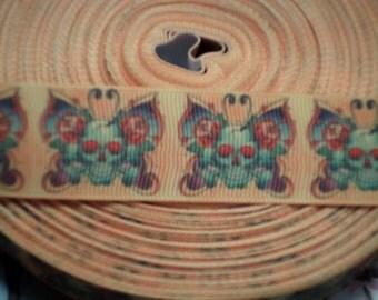 Sugar Skull Butterfly Grosgrain Ribbon