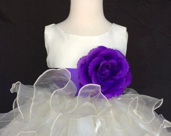 Flower Girl Bridesmaids Ivory Ruffled Dress