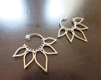 Handmade Sterling Silver Tribal Lotus Flower Balinese Earrings