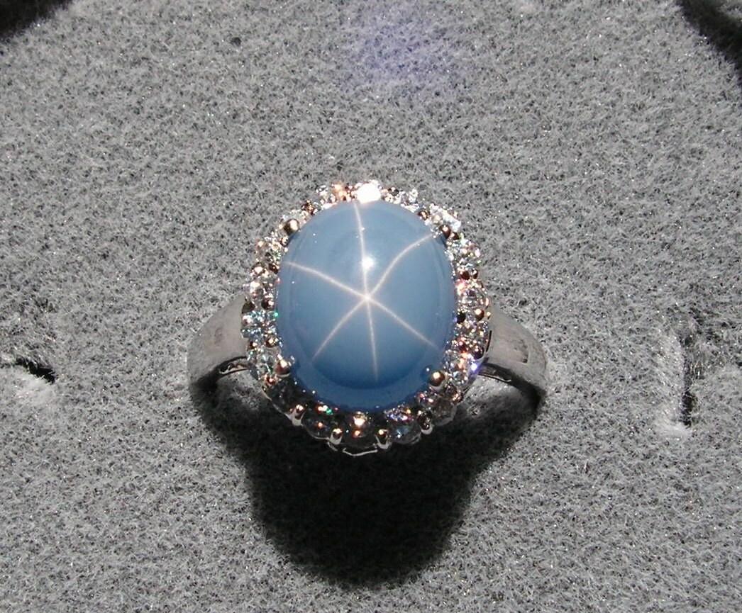Vintage Linde Lindy Azure Blue Star Sapphire Created Cluster
