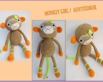 Amigurumi monkey-Monkey girl-Crochet stuffed animal